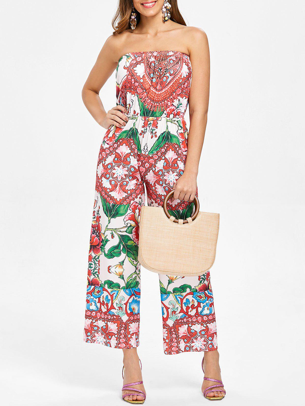 Affordable Ethnic Print Off The Shoulder Jumpsuit