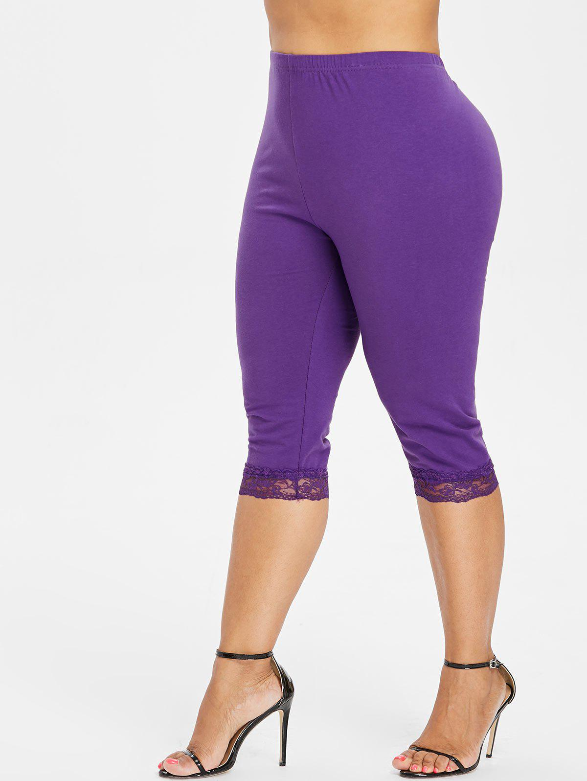 Outfit Plus Size Lace Trim Knee Length Leggings