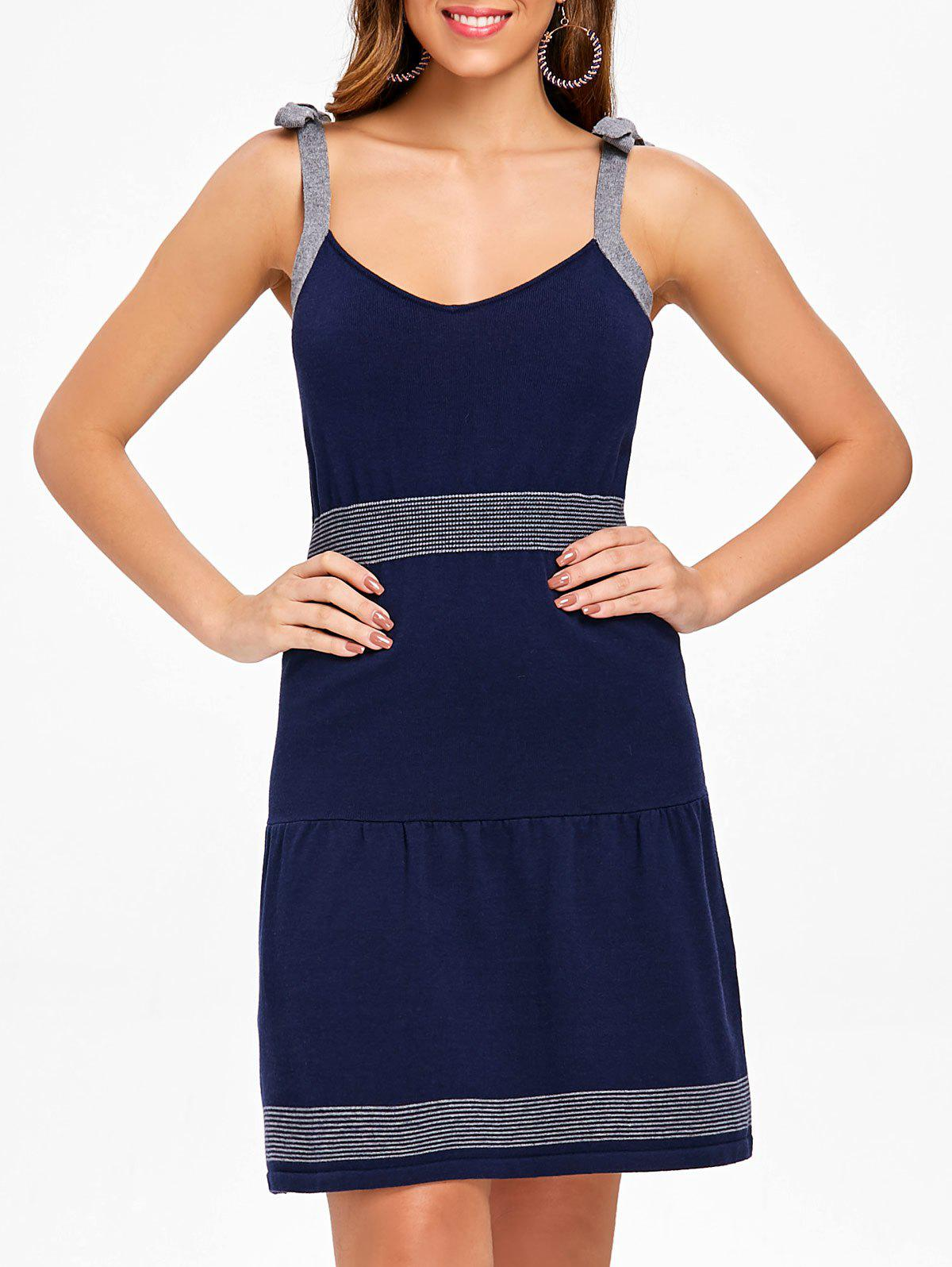 Affordable Sleeveless Tie Straps Sweater Dress