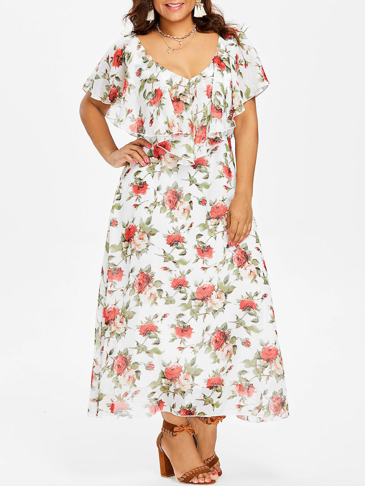 Shops Flounce Insert Plus Size Floral Maxi Dress