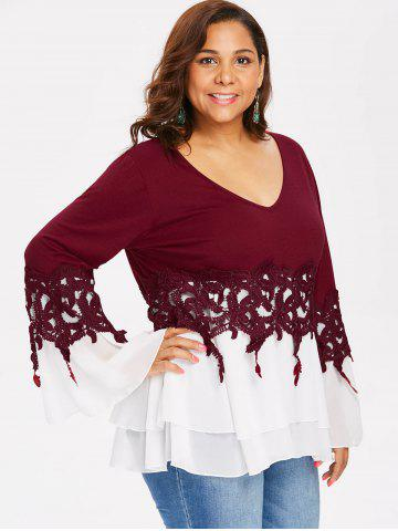 Plus Size Color Block Applique Blouse