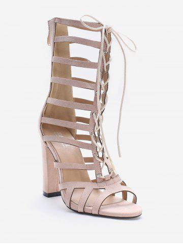 Hollow Out Block Heel Cadged Lace Up Sandals