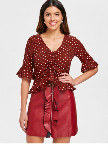 Drawstring Flounce Dotted Blouse