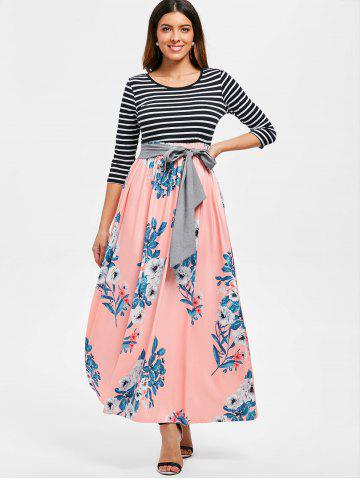 Floral Print Striped Panel Maxi Dress