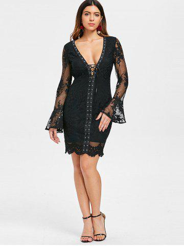 Low Cut Lace Up Embroidered Dress