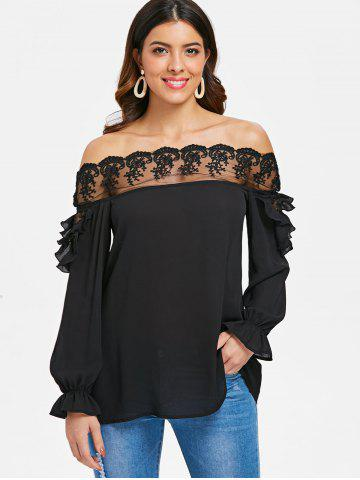 Off Shoulder Embroidery Mesh Insert Blouse