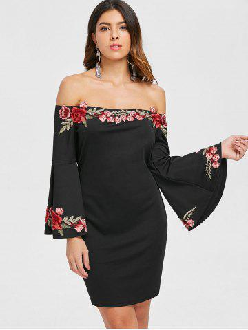 Floral Embroidery Off The Shoulder Dress