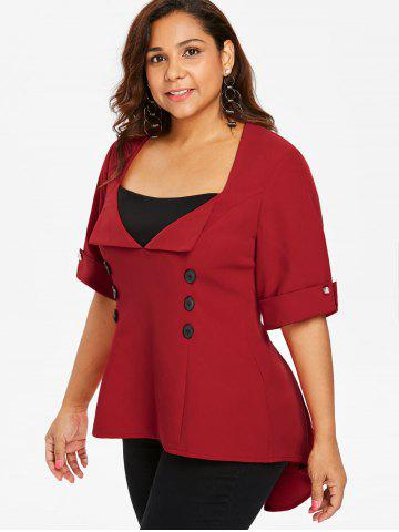 Plus Size Color Block Lace Up Top, Red