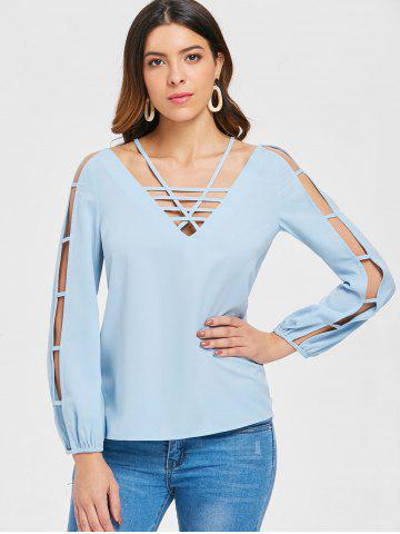 Long Sleeve Strappy Cut Out Blouse