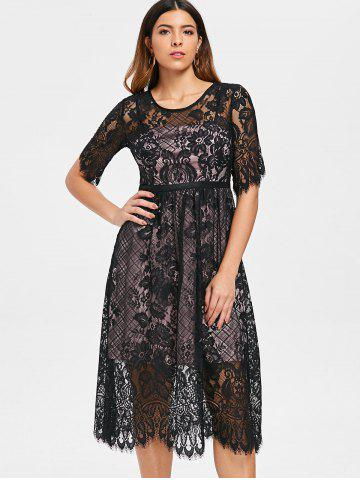Lace Overlay Midi Party Dress