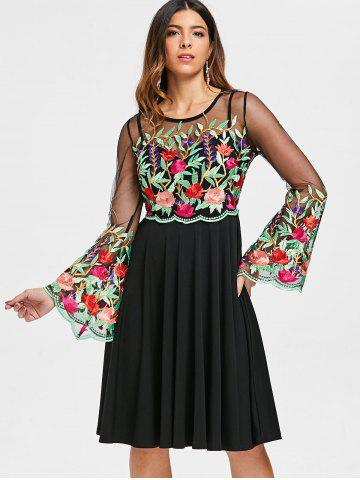 Flare Sleeve Embroidered See Through Dress
