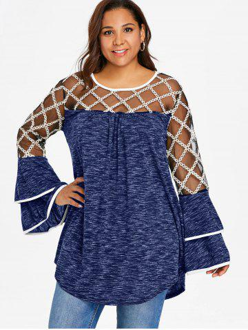 Plus Size Marled Layered Flare Sleeve T-shirt