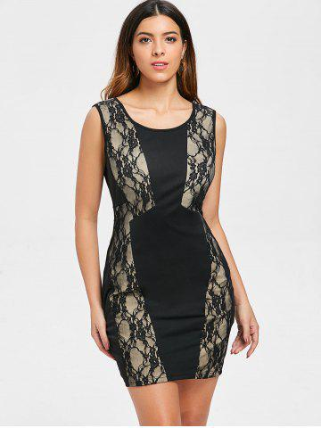 Lace Insert Sleeveless Slim Dress