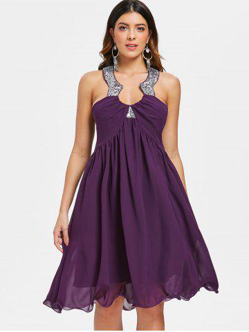 Jewel Neck Backless Party Dress