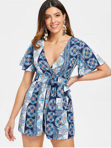 f1b172d2a683 Ethnic Print Plunge Romper with Belt