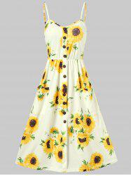 Spaghetti Strap Sunflower Print Buttoned Mini Dress -