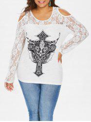 Plus Size Graphic Lace Open Shoulder T-shirt -