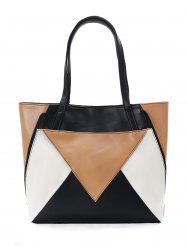 Chic Color Block Convertible Geometric Tote Bag -