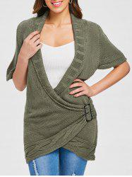 Shawl Collar Buckled Surplice Sweater Dress -