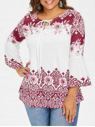 Plus Size Print Flare Sleeve T-shirt -
