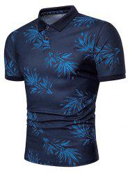 Leaves Print Short Sleeve Casual Polo Shirt -