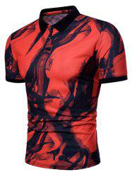 Allover Smog Print Short Sleeve Polo T-shirt -
