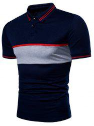 Contrast Striped Patch Short Sleeve Polo Shirt -