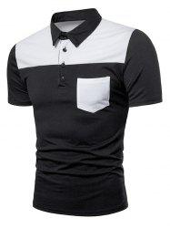Two Tone Top Pocket Patch Polo Shirt -