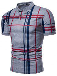 Plaid Print Short Sleeve Summer Polo Shirt -