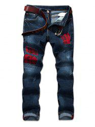Destroyed Check Print Panel Jeans -