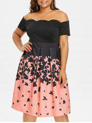 Plus Size Butterflies Print Vintage Scalloped Dress -