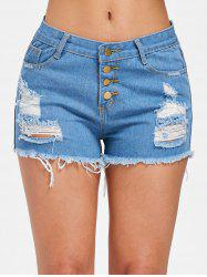 Short en Denim Effiloché et Boutonné -