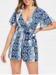 Ethnic Print Plunge Romper with Belt -