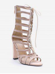 Hollow Out Block Heel Cadged Lace Up Sandals -