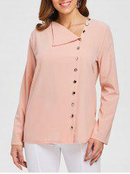 Skew Neck Buttoned Blouse -