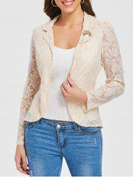 Lapel Back Split Lace Blazer -
