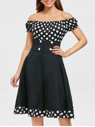 Polka Dot Off Shoulder Pin Up Dress -