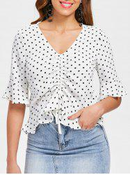 Drawstring Flounce Dotted Blouse -