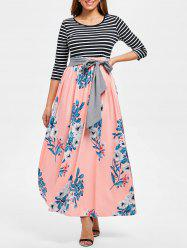 Floral Print Striped Panel Maxi Dress -