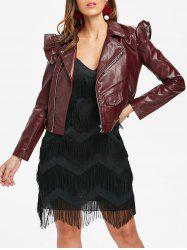 Belt Hem Faux Leather Jacket -