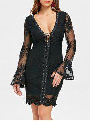 Low Cut Lace Up Embroidered Dress -