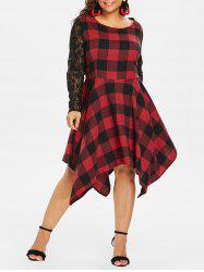 Plus Size Lace Plaid Handkerchief Dress -