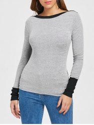 Color Block Fitted Knit Top -