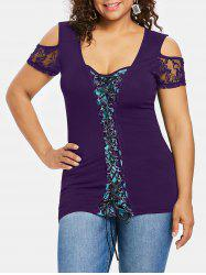 Plus Size Cold Shoulder Lace Up T-shirt -