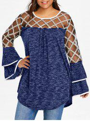 Plus Size Marled Layered Flare Sleeve T-shirt -