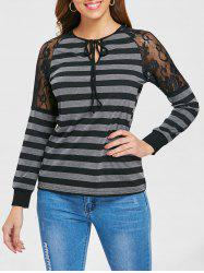 Full Sleeve Lace Shoulder Stripe T-shirt -