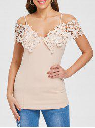 Spaghetti Strap Lace Applique Open Shoulder Tee -