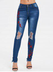 Embroidered Distressed Frayed Hem Jeans -