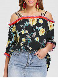 Open Shoulder Printed Strappy Top -