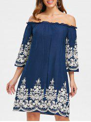 Bohemian Off Shoulder Embroidery Dress -